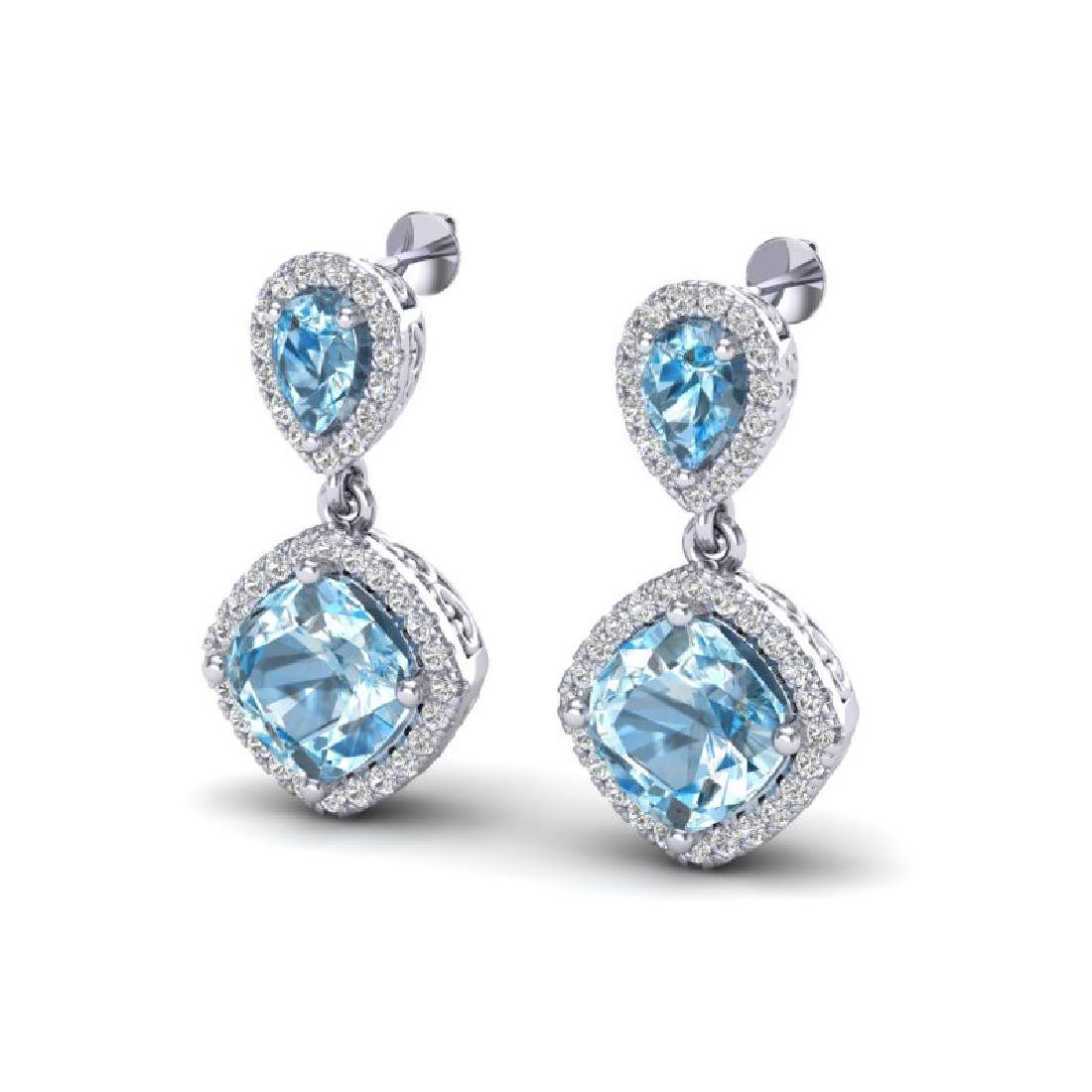 7 CTW Sky Blue Topaz & Micro VS/SI Diamond Earrings