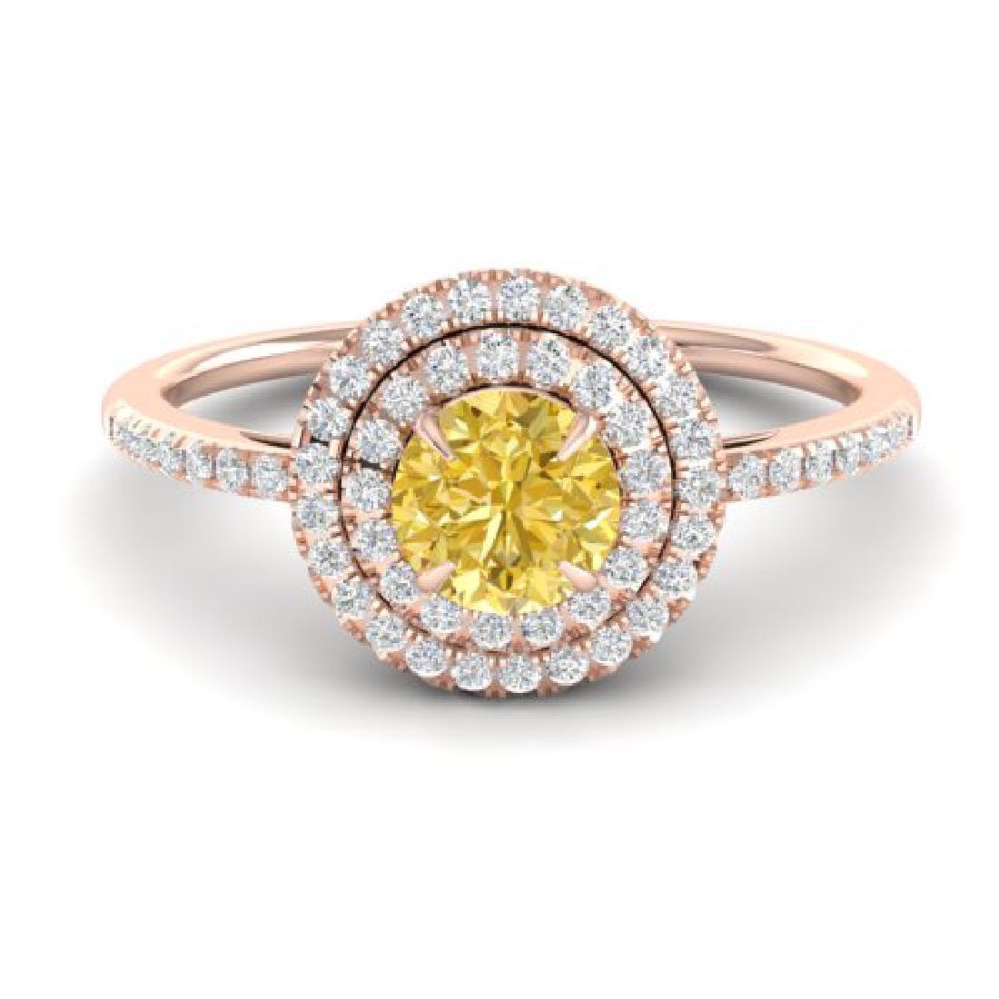 1 CTW Citrine & Micro VS/SI Diamond Ring Halo 14K Rose