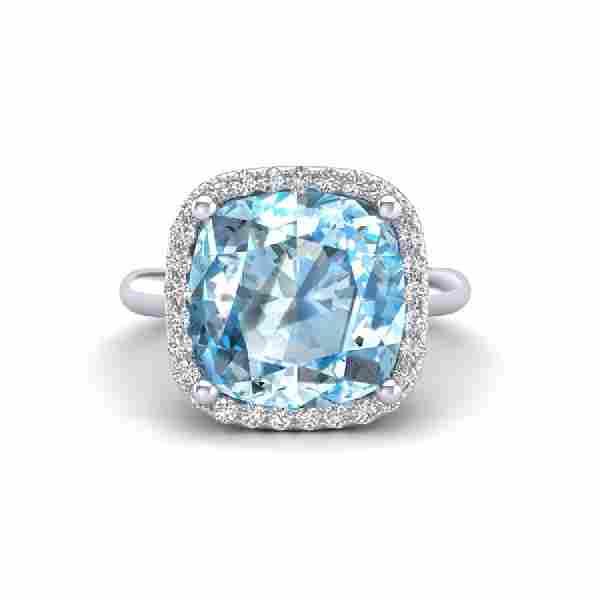 6 CTW Sky Blue Topaz Micro Pave Halo VSSI Diamond