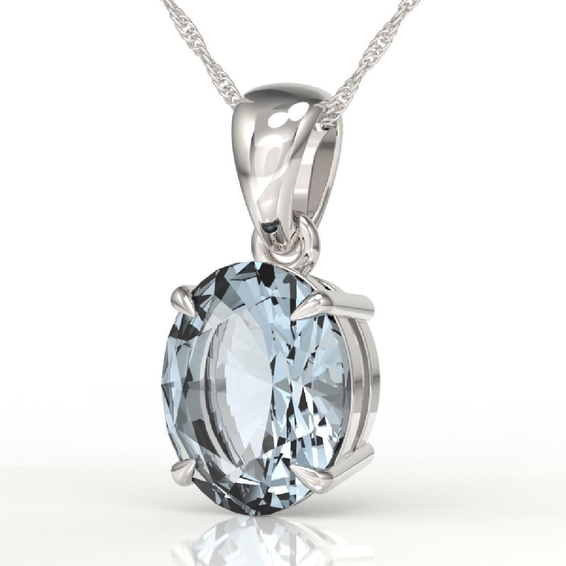 2.5 CTW Aquamarine Designer Inspired Solitaire Necklace