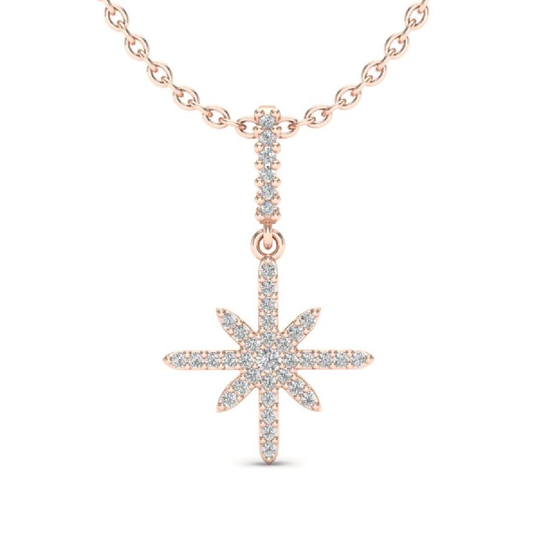 0.38 CTW Micro Pave VS/SI Diamond Necklace 14K Rose