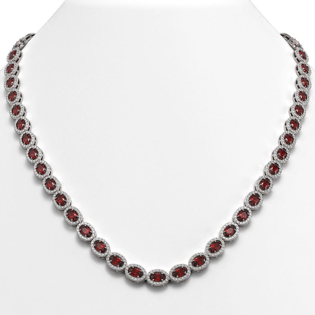 21.04 CTW Garnet & Diamond Halo Necklace 10K White Gold