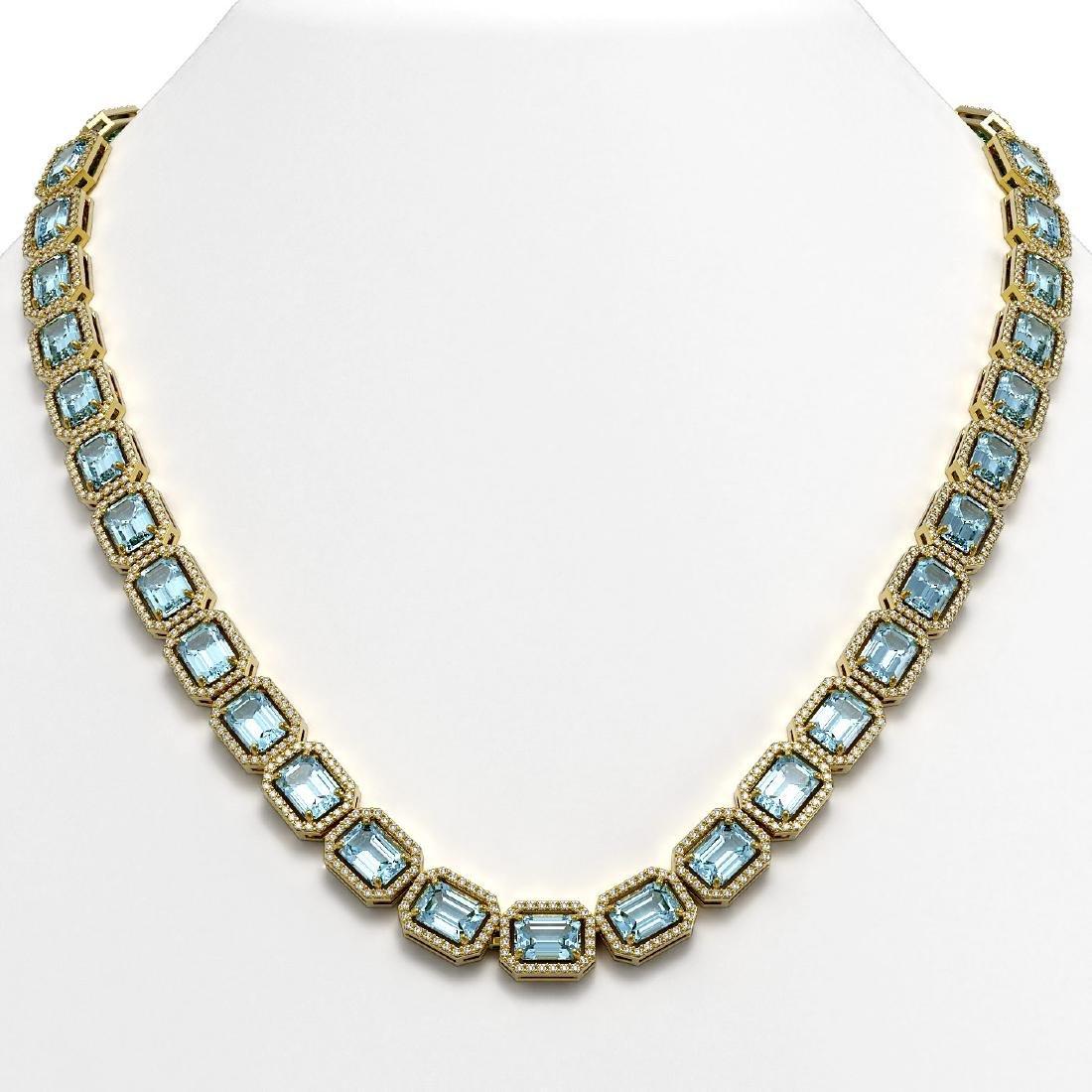 54.79 CTW Aquamarine & Diamond Halo Necklace 10K Yellow