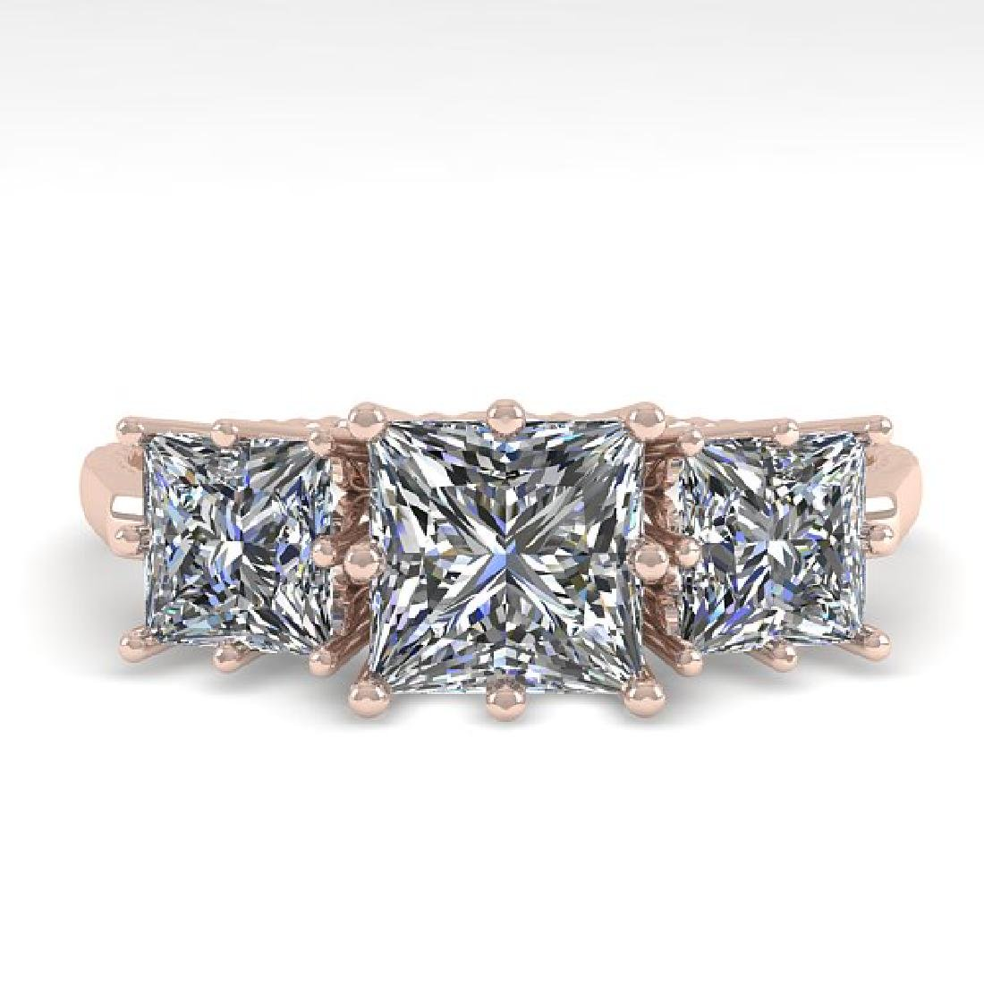 2.0 CTW VS/SI Princess Diamond Art Deco Ring 14K Rose