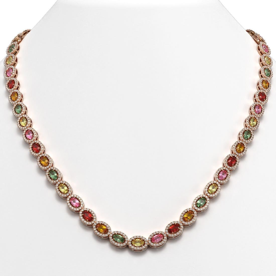 22.62 CTW Multi Color Sapphire & Diamond Halo Necklace