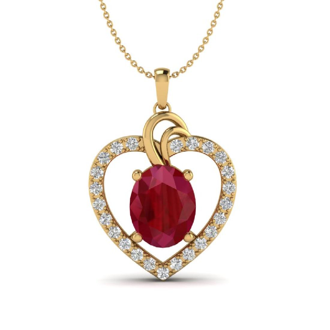 4 CTW Ruby & VS/SI Diamond Designer Heart Necklace 14K