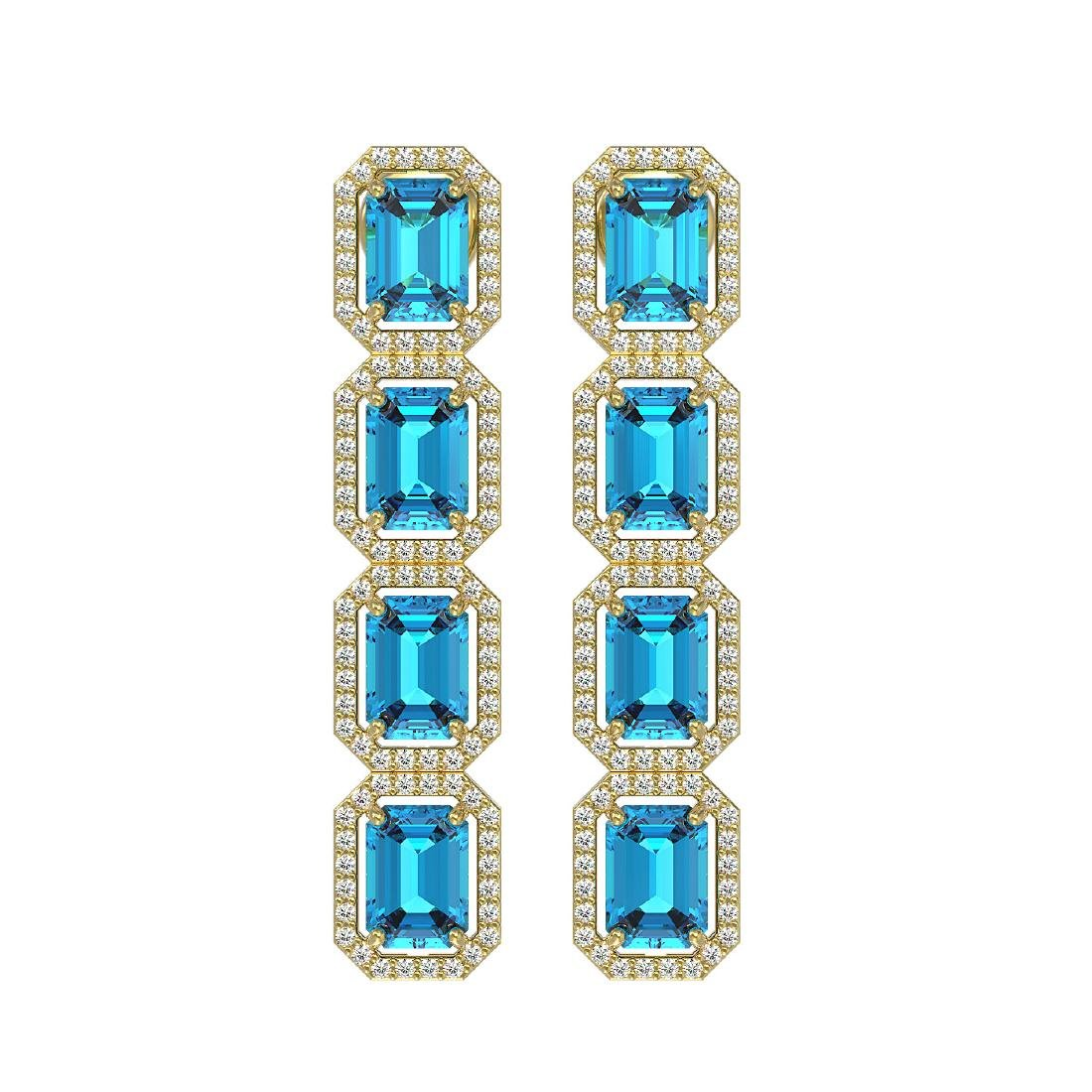 11.13 CTW Swiss Topaz & Diamond Halo Earrings 10K