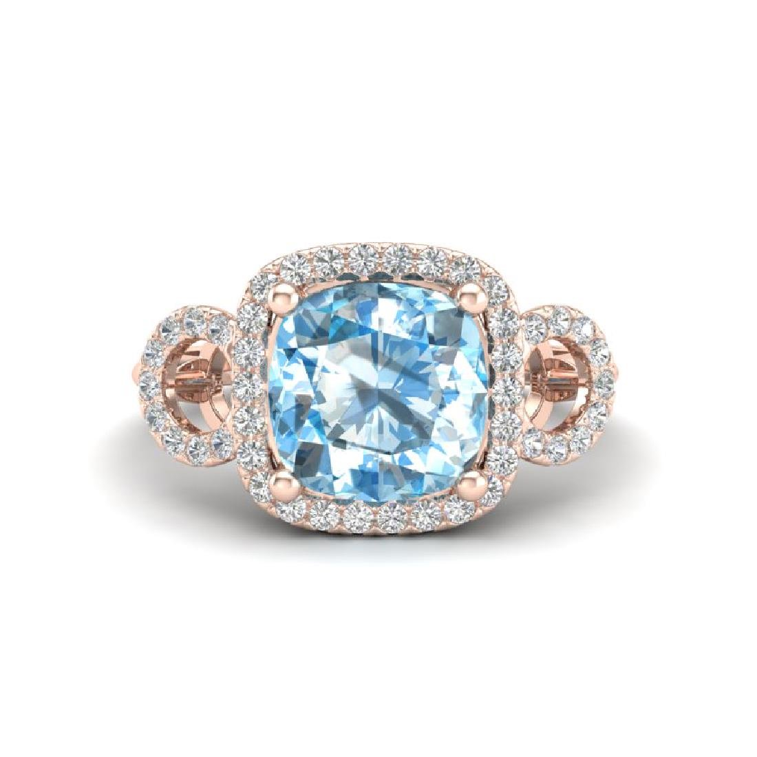 3.75 CTW Topaz & Micro VS/SI Diamond Ring 14K Rose Gold