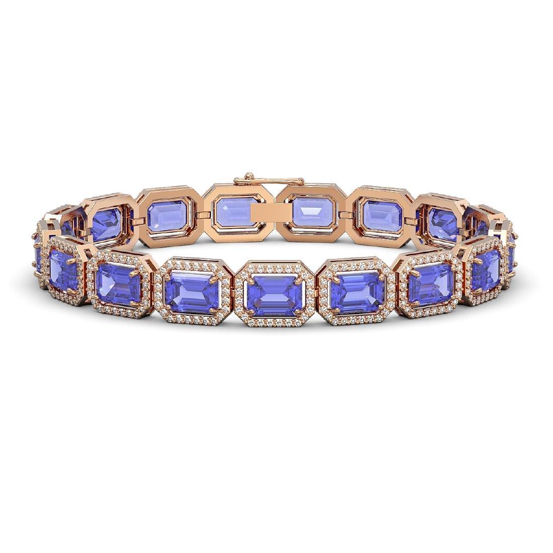 25.36 CTW Tanzanite & Diamond Halo Bracelet 10K Rose
