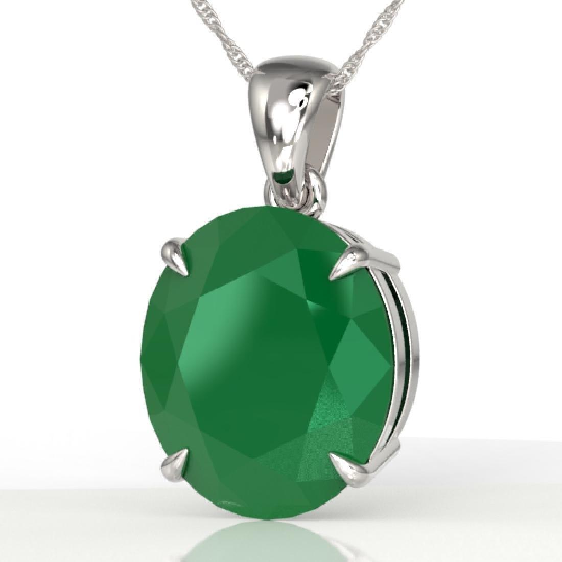 9 CTW Emerald Designer Solitaire Necklace 18K White