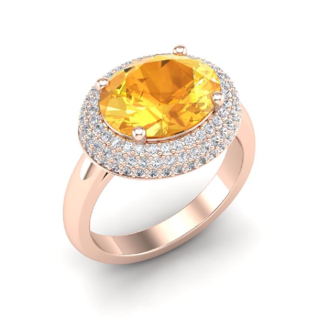 4 CTW Citrine & Micro Pave VS/SI Diamond Ring 14K Rose