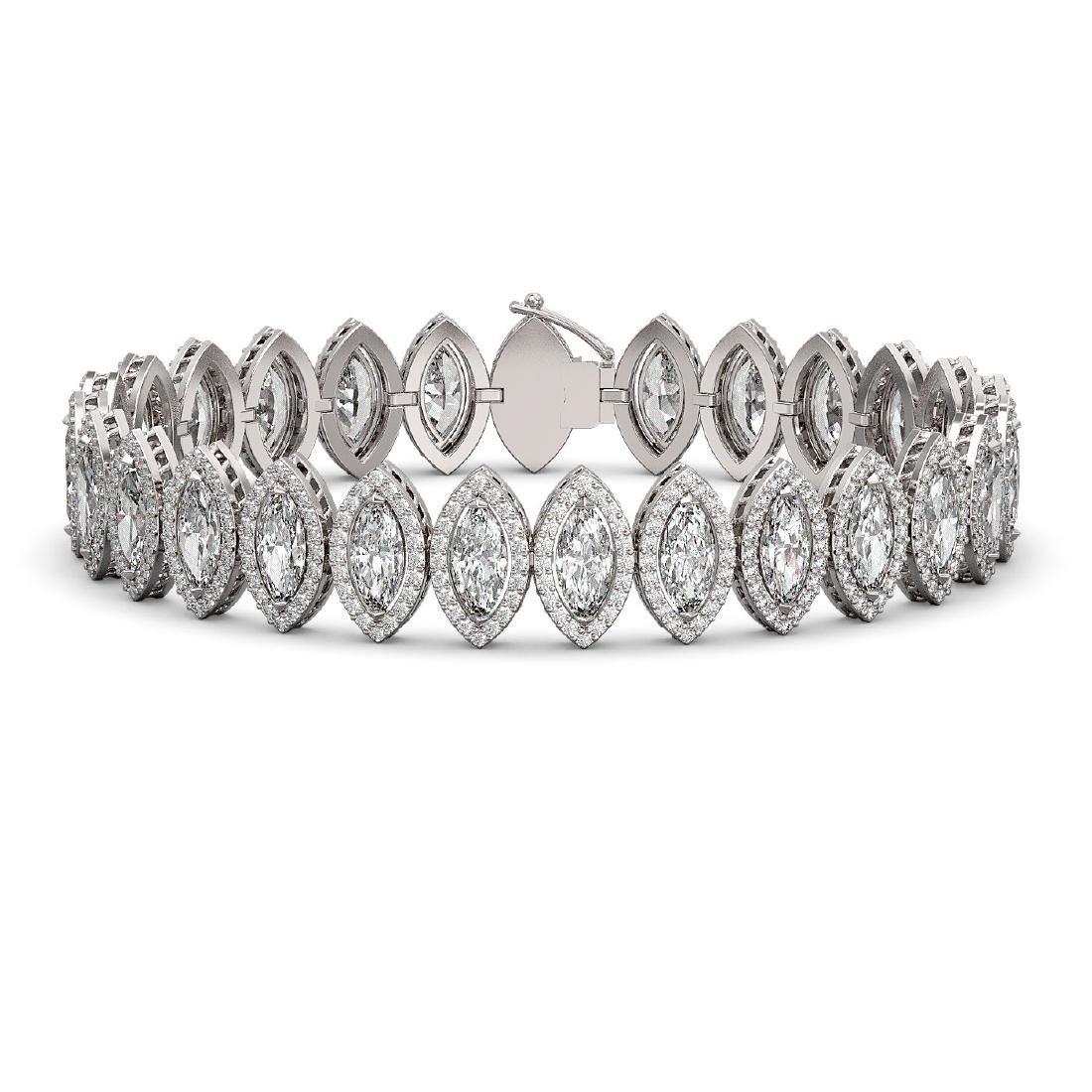 17.55 CTW Marquise Diamond Designer Bracelet 18K White