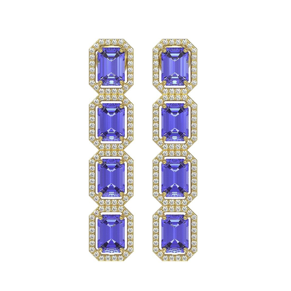11.93 CTW Tanzanite & Diamond Halo Earrings 10K Yellow