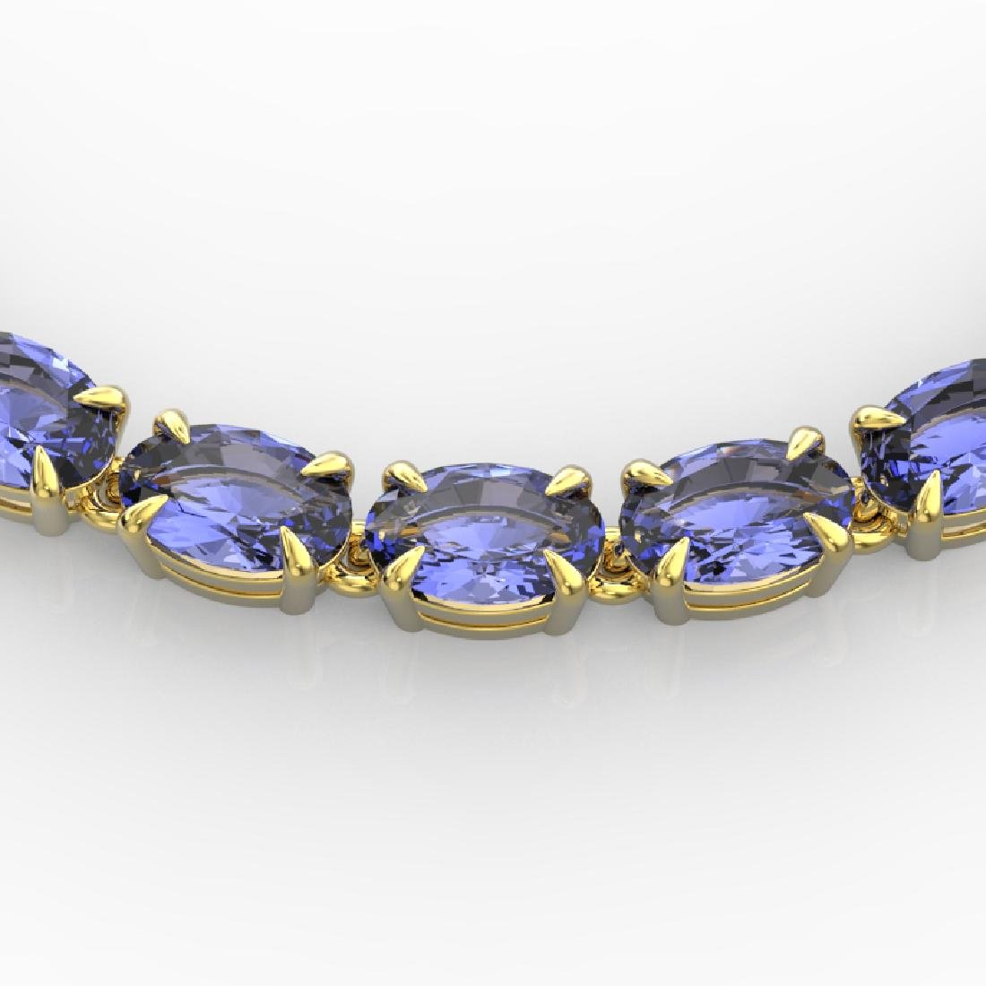 40 CTW Tanzanite Eternity Tennis Necklace 14K Yellow