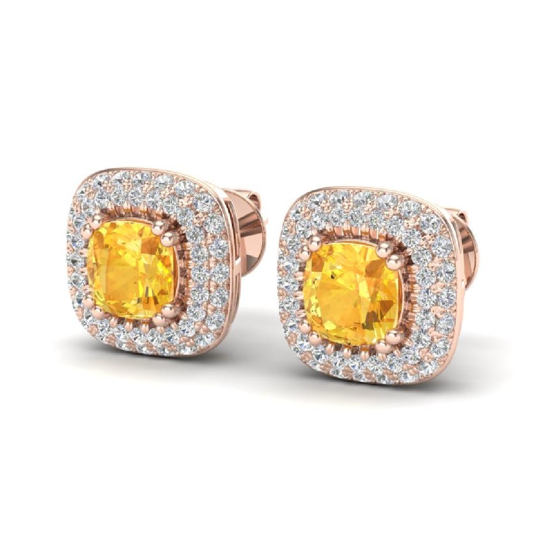 2.16 CTW Citrine & Micro VS/SI Diamond Earrings Halo