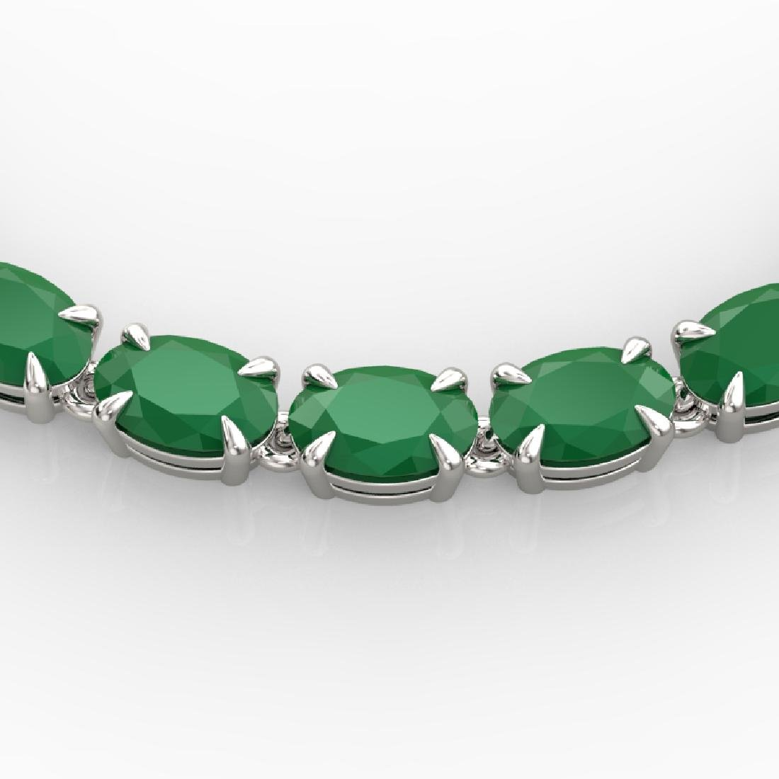 40 CTW Emerald Eternity Tennis Necklace 14K White Gold