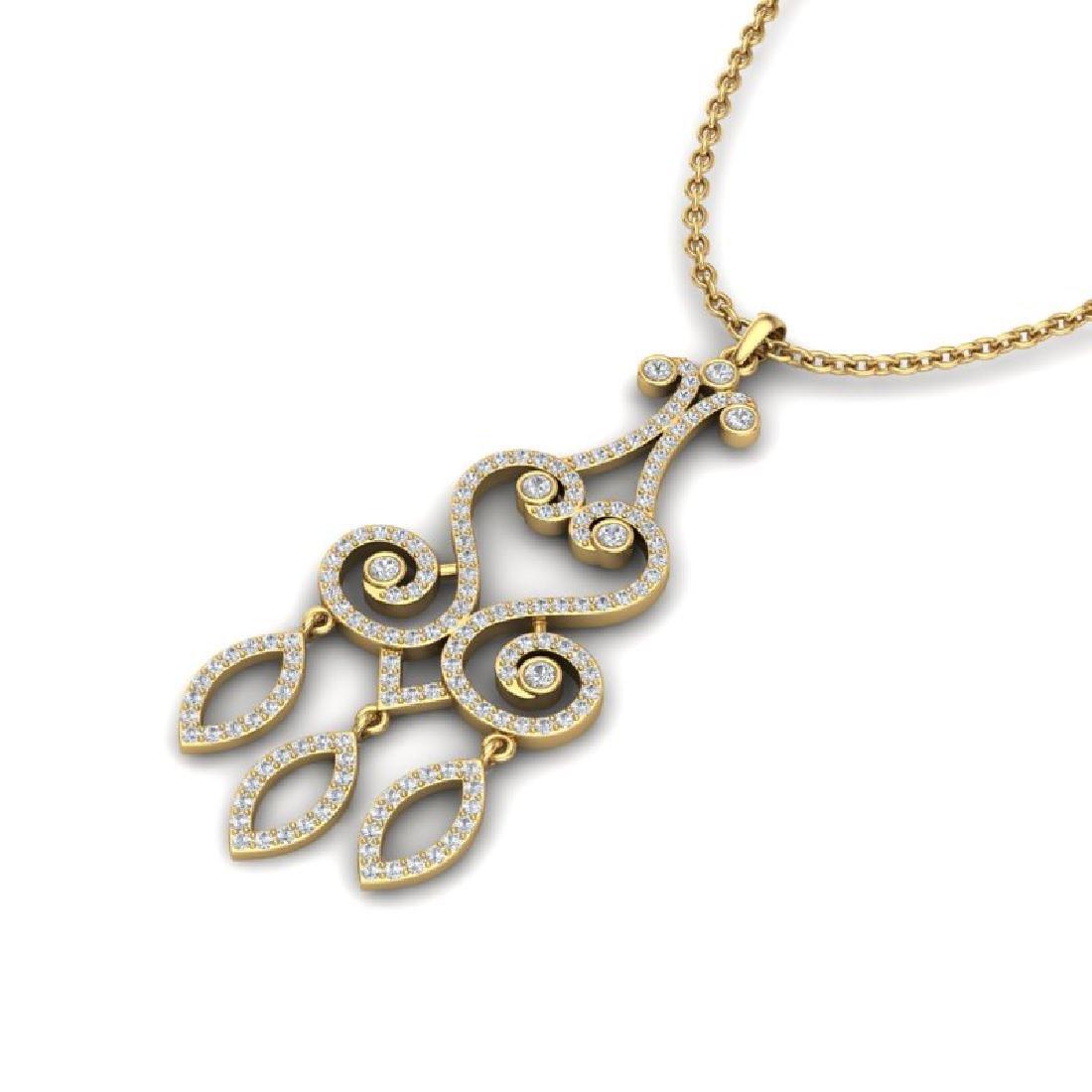 1.60 CTW VS/SI Diamond Micro Pave Designer Necklace 14K