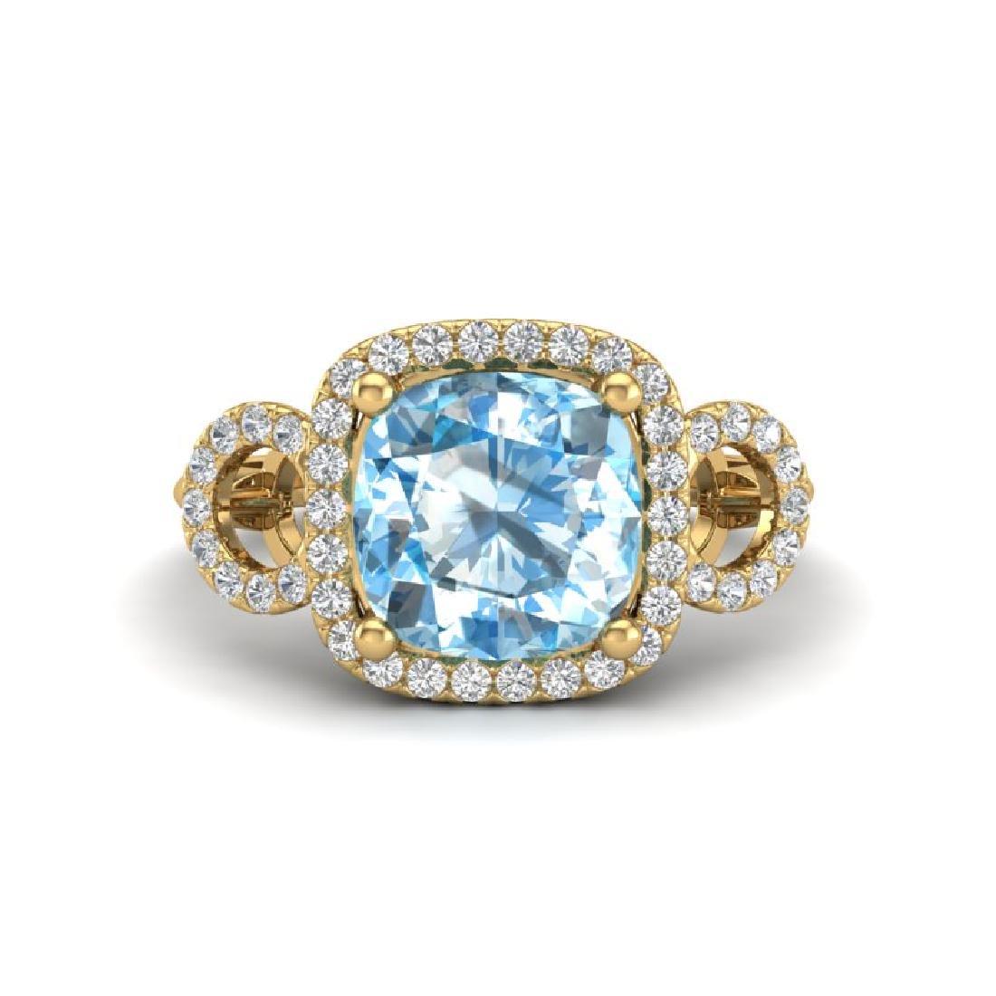 3.75 CTW Topaz & Micro VS/SI Diamond Ring 18K Yellow