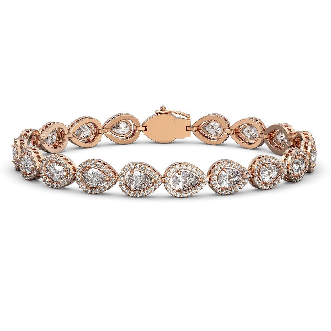 12.38 CTW Pear Diamond Designer Bracelet 18K Rose Gold