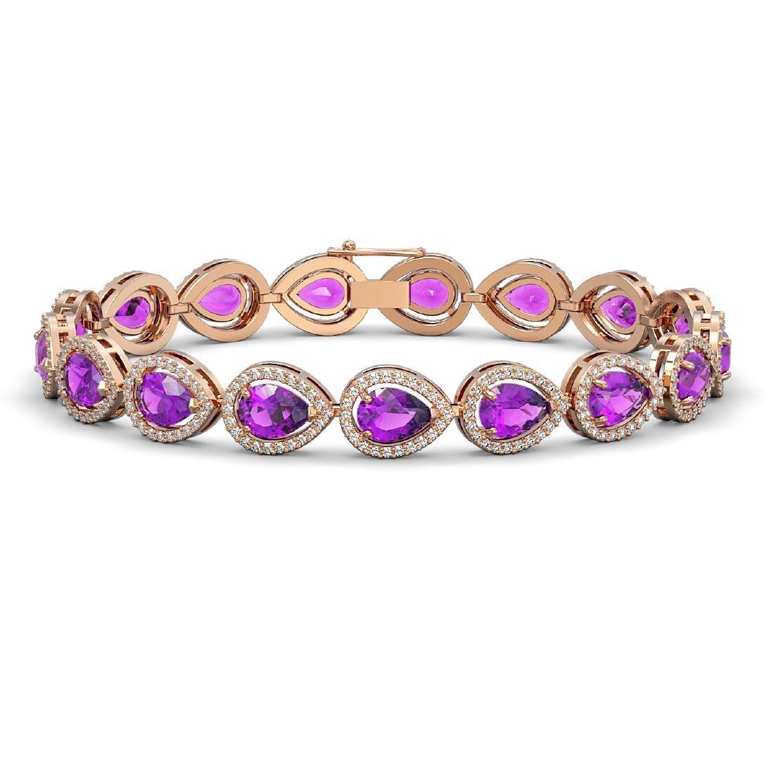 16.76 CTW Amethyst & Diamond Halo Bracelet 10K Rose