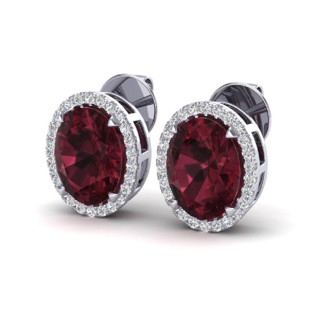 5.50 CTW Garnet & Micro VS/SI Diamond Halo Earrings 18K
