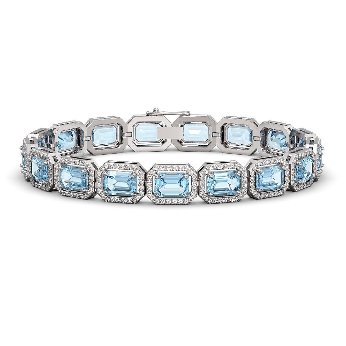 24.51 CTW Aquamarine & Diamond Halo Bracelet 10K White