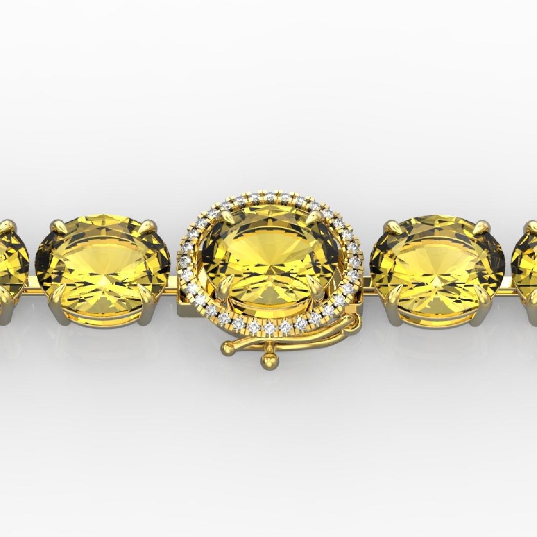 78 CTW Citrine & Micro Pave VS/SI Diamond Halo Bracelet