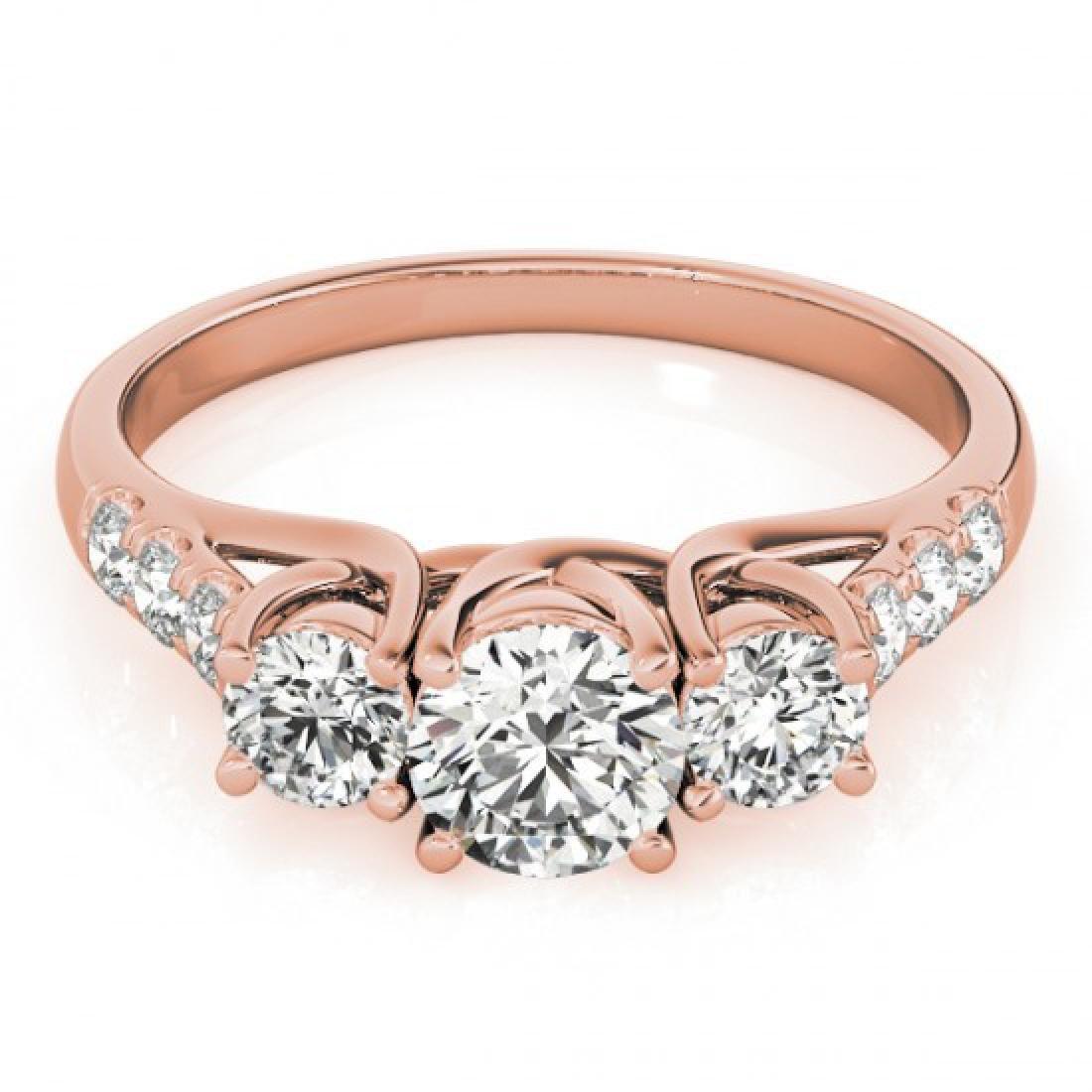 0.75 CTW Certified VS/SI Diamond 3 Stone Ring 14K Rose