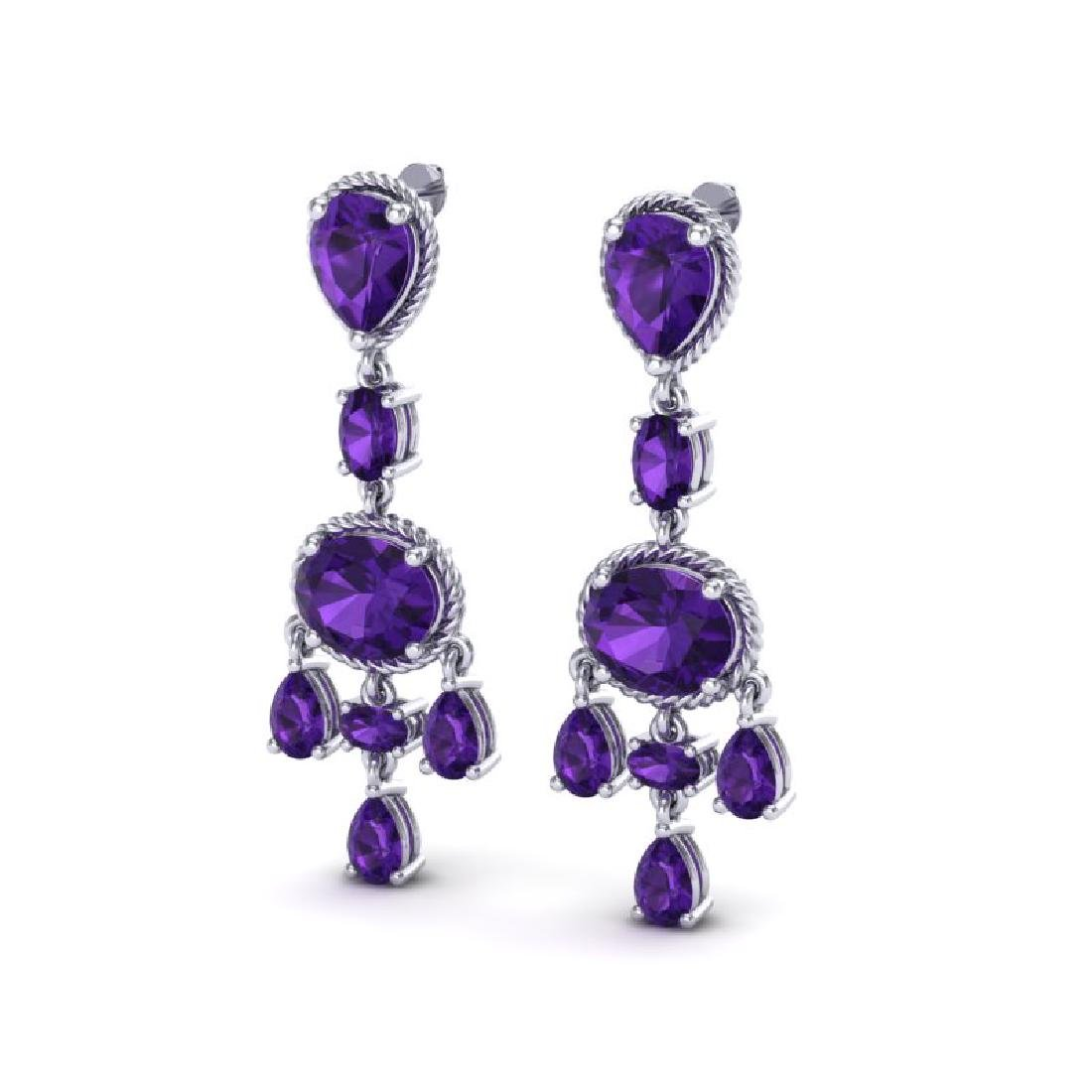 16 CTW Amethyst Earrings Designer Vintage 10K White