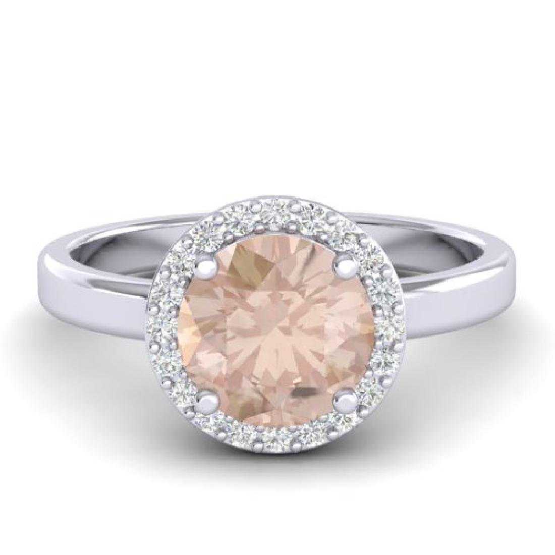 1.50 CTW Morganite & Halo VS/SI Diamond Micro Ring 18K