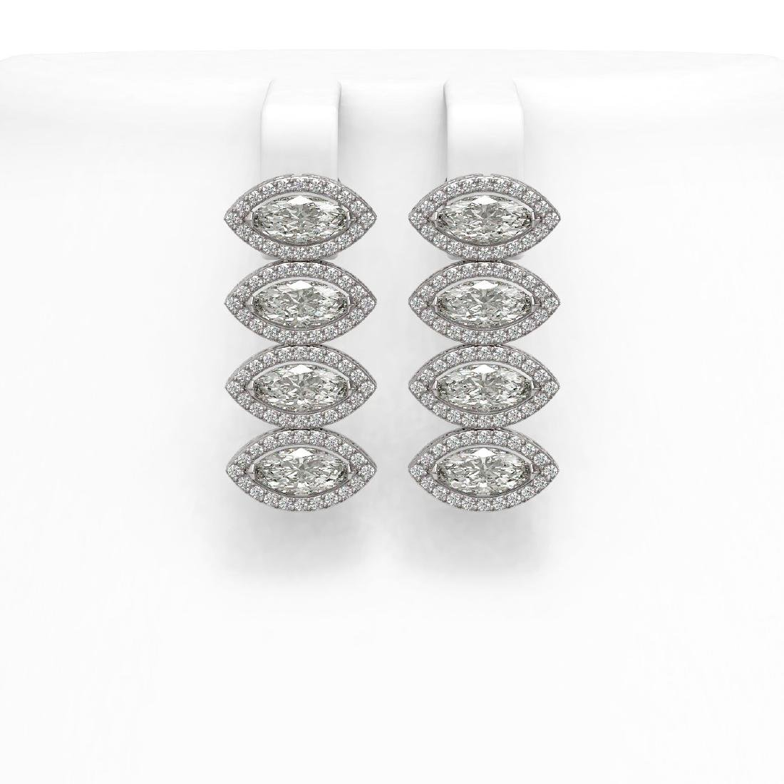 5.33 CTW Marquise Diamond Designer Earrings 18K White
