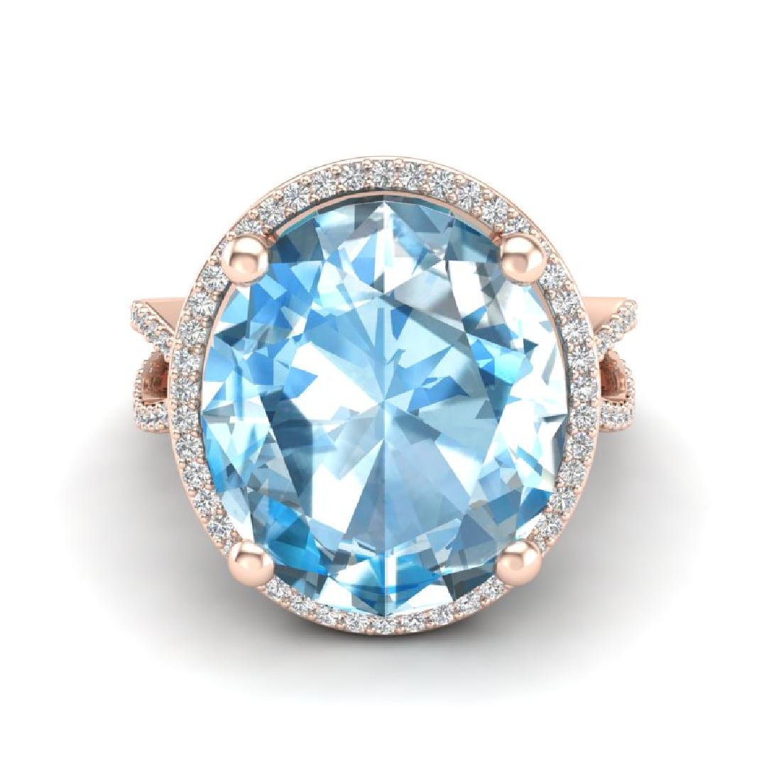12 CTW Sky Blue Topaz & Micro Pave VS/SI Diamond Halo