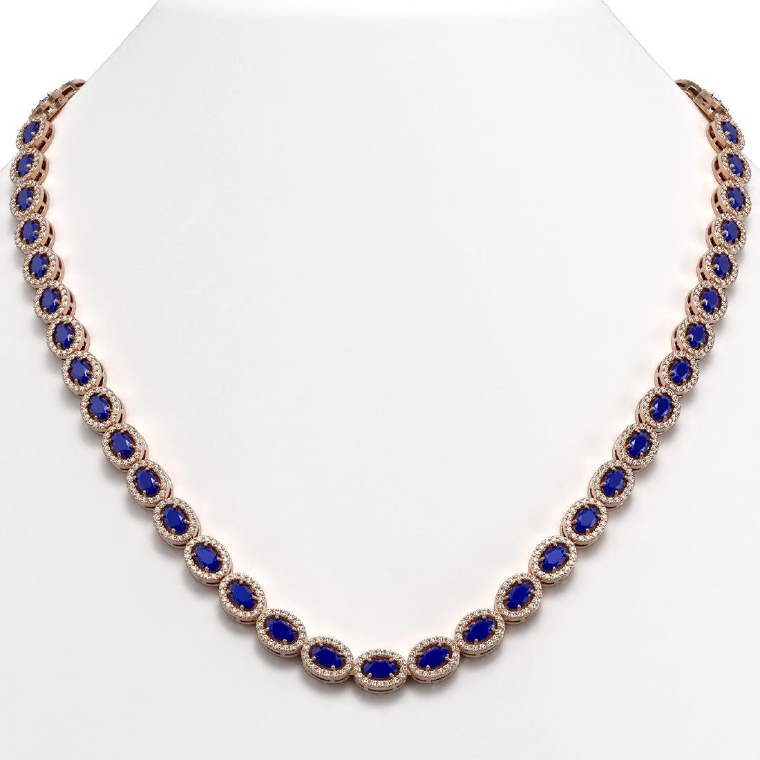 26.38 CTW Sapphire & Diamond Halo Necklace 10K Rose
