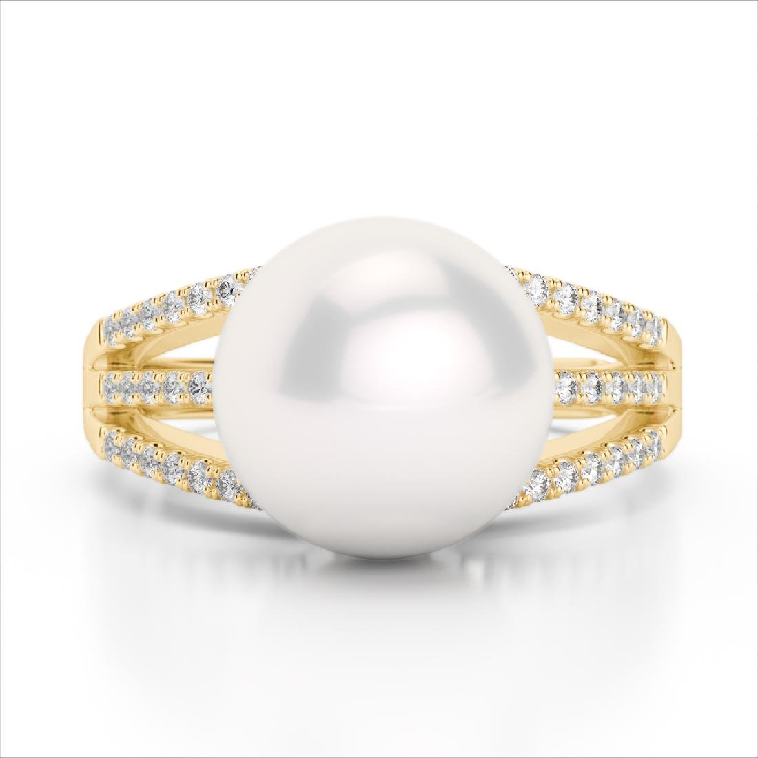 0.30 CTW Micro Pave VS/SI Diamond & Pearl Designer Ring
