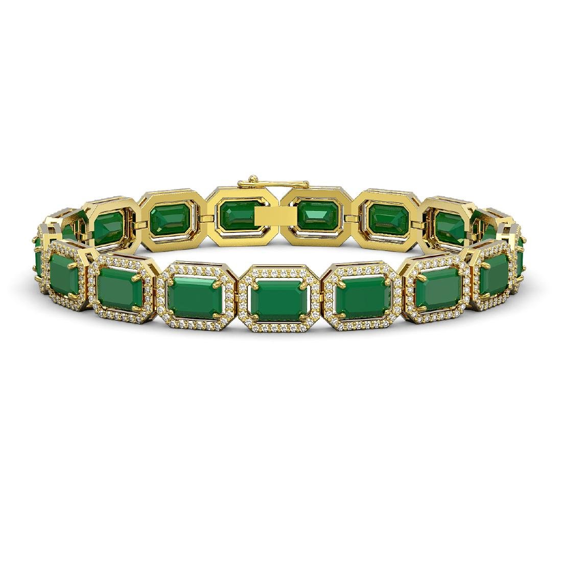 26.21 CTW Emerald & Diamond Halo Bracelet 10K Yellow