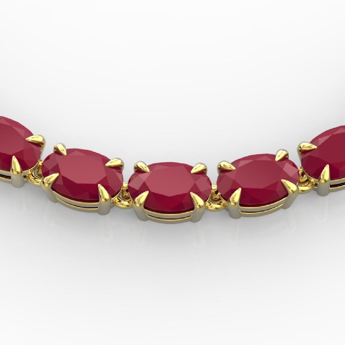 40 CTW Ruby Eternity Tennis Necklace 14K Yellow Gold