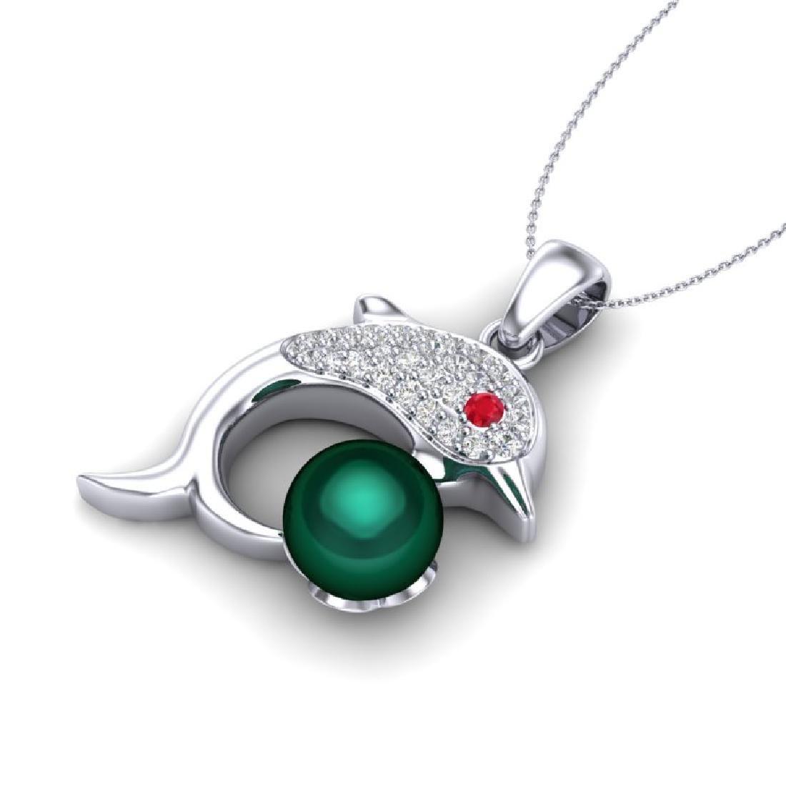 0.65 CTW VS/SI Diamond & White Pearl Dolphin Necklace
