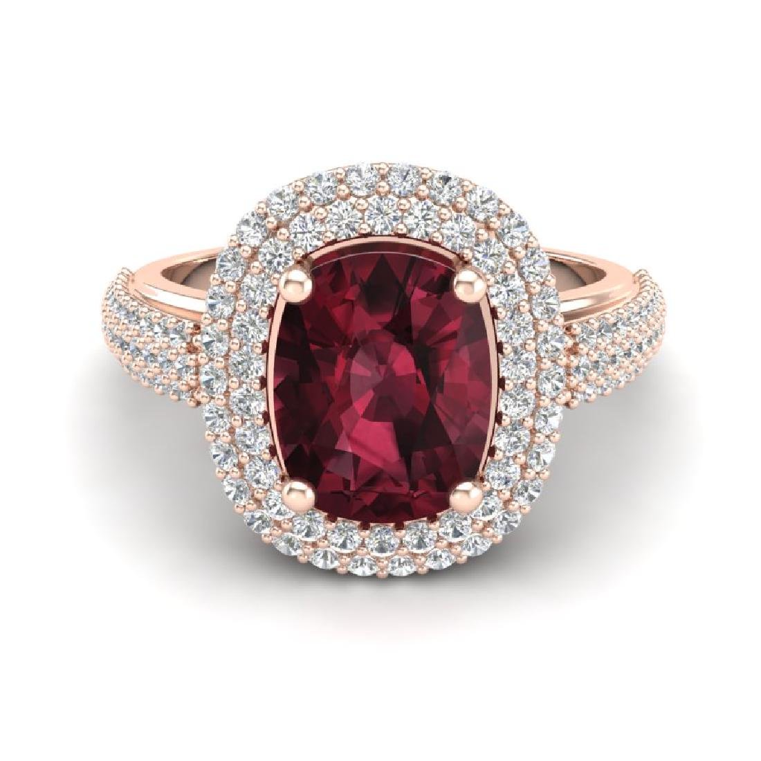 3.10 CTW Garnet & Micro Pave VS/SI Diamond Halo Ring