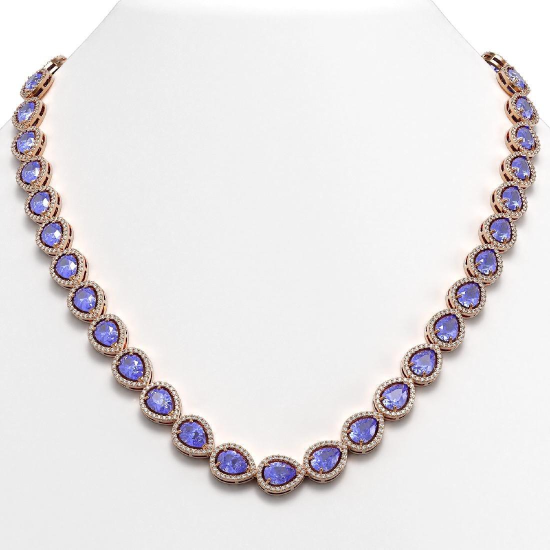 40.53 CTW Tanzanite & Diamond Halo Necklace 10K Rose