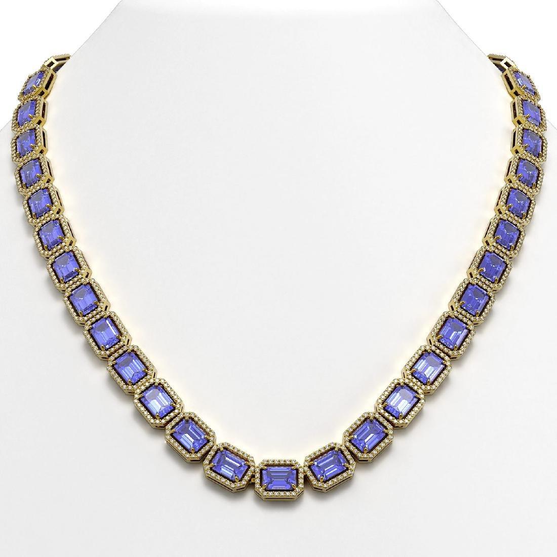 56.69 CTW Tanzanite & Diamond Halo Necklace 10K Yellow