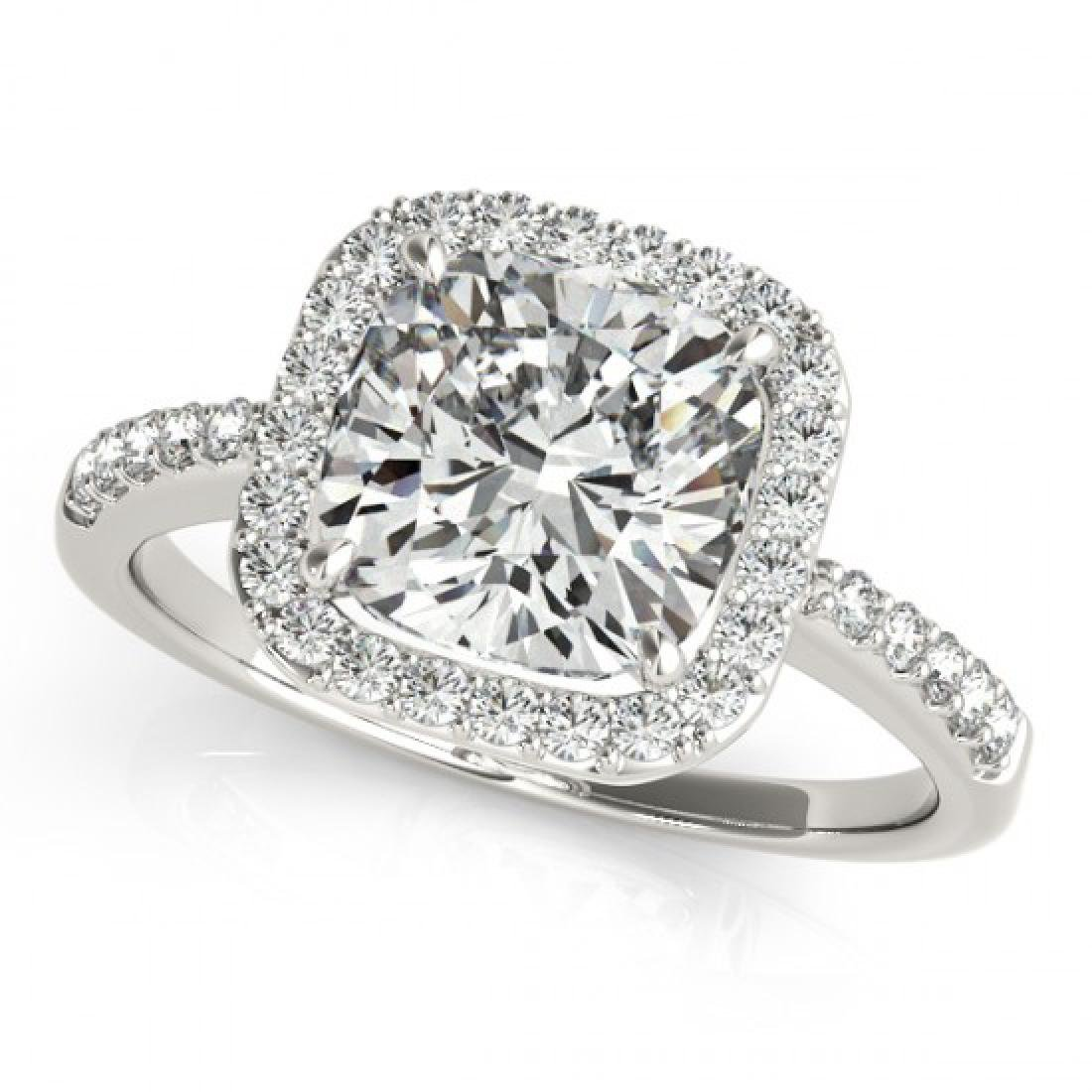 1.01 CTW Certified VS/SI Cushion Diamond Solitaire Halo