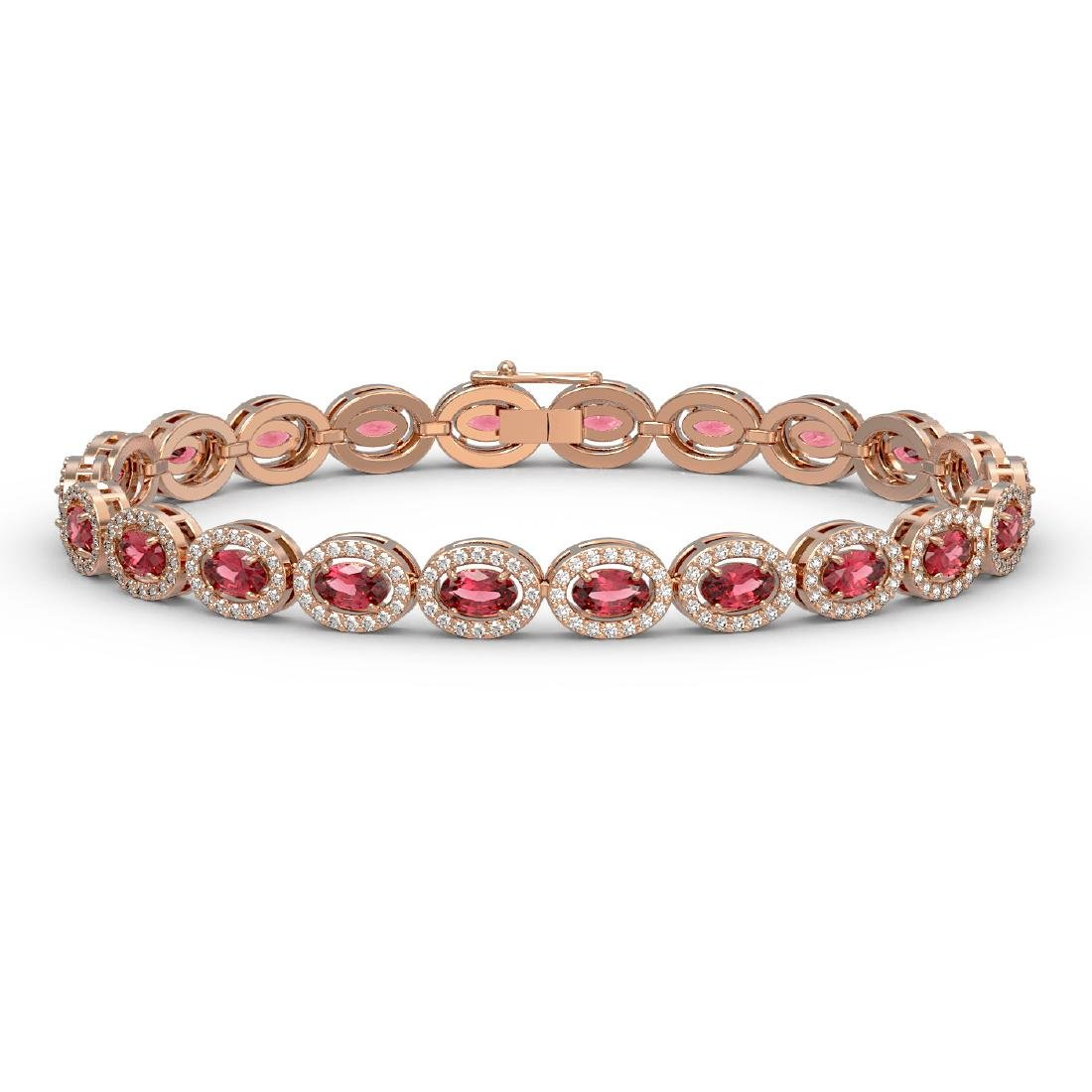 10.54 CTW Tourmaline & Diamond Halo Bracelet 10K Rose