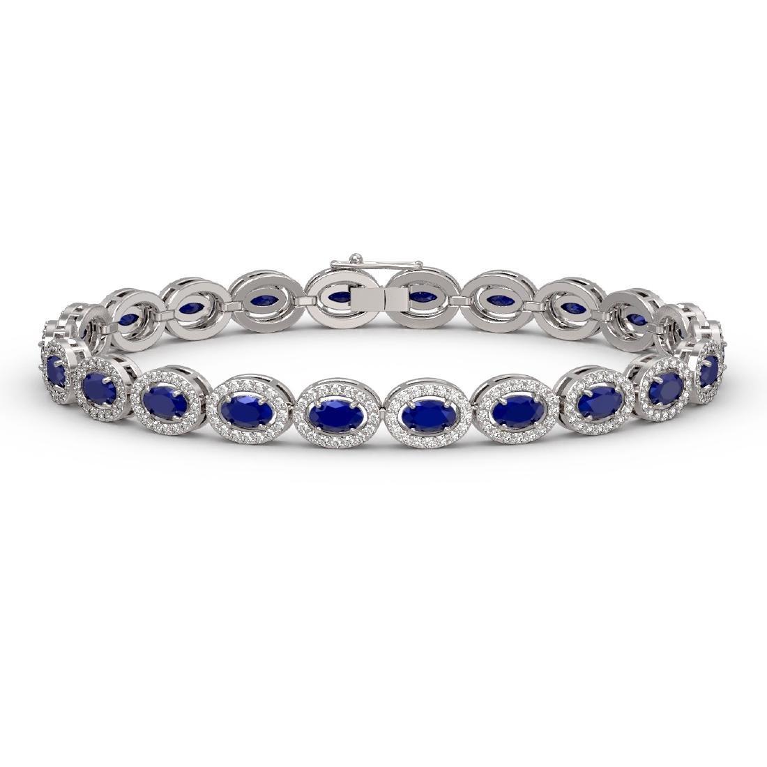 11.58 CTW Sapphire & Diamond Halo Bracelet 10K White