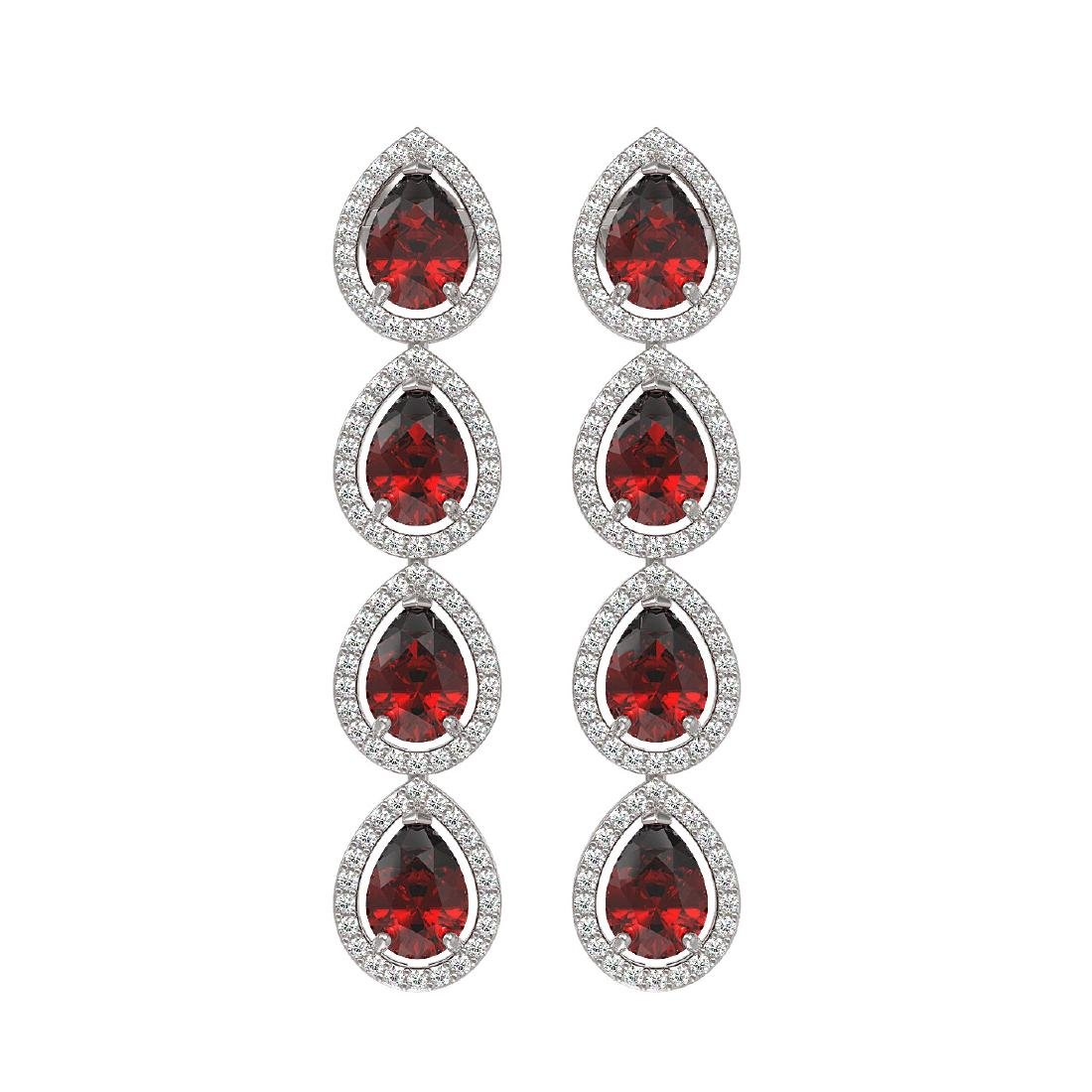 8.2 CTW Garnet & Diamond Halo Earrings 10K White Gold