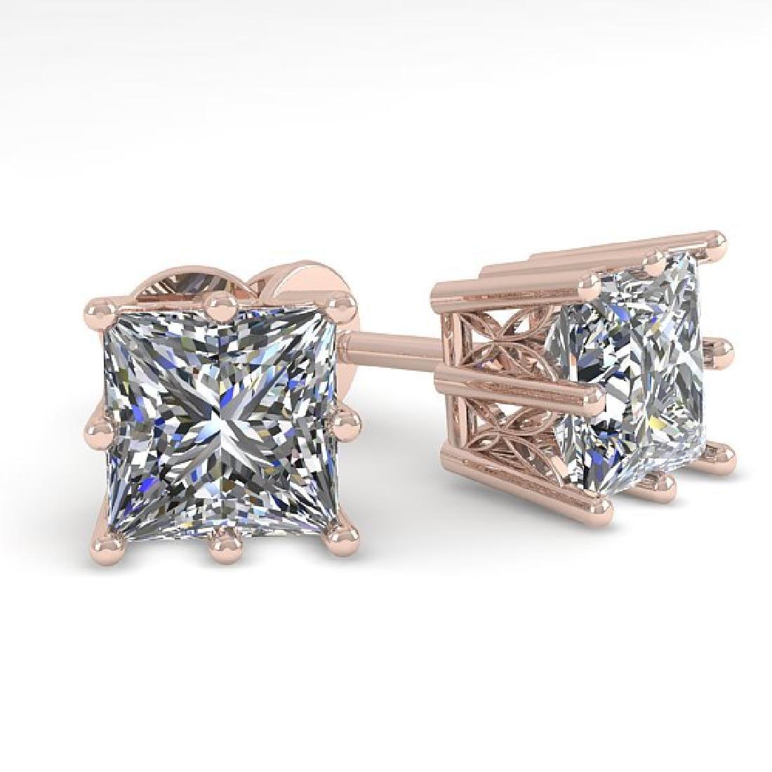 1.0 CTW VS/SI Princess Diamond Stud Art Deco Earrings