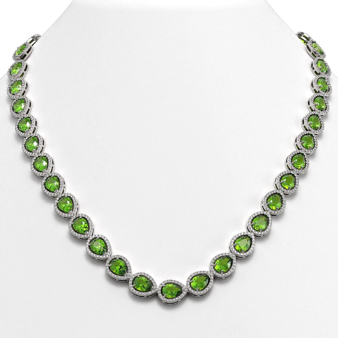 33.35 CTW Peridot & Diamond Halo Necklace 10K White