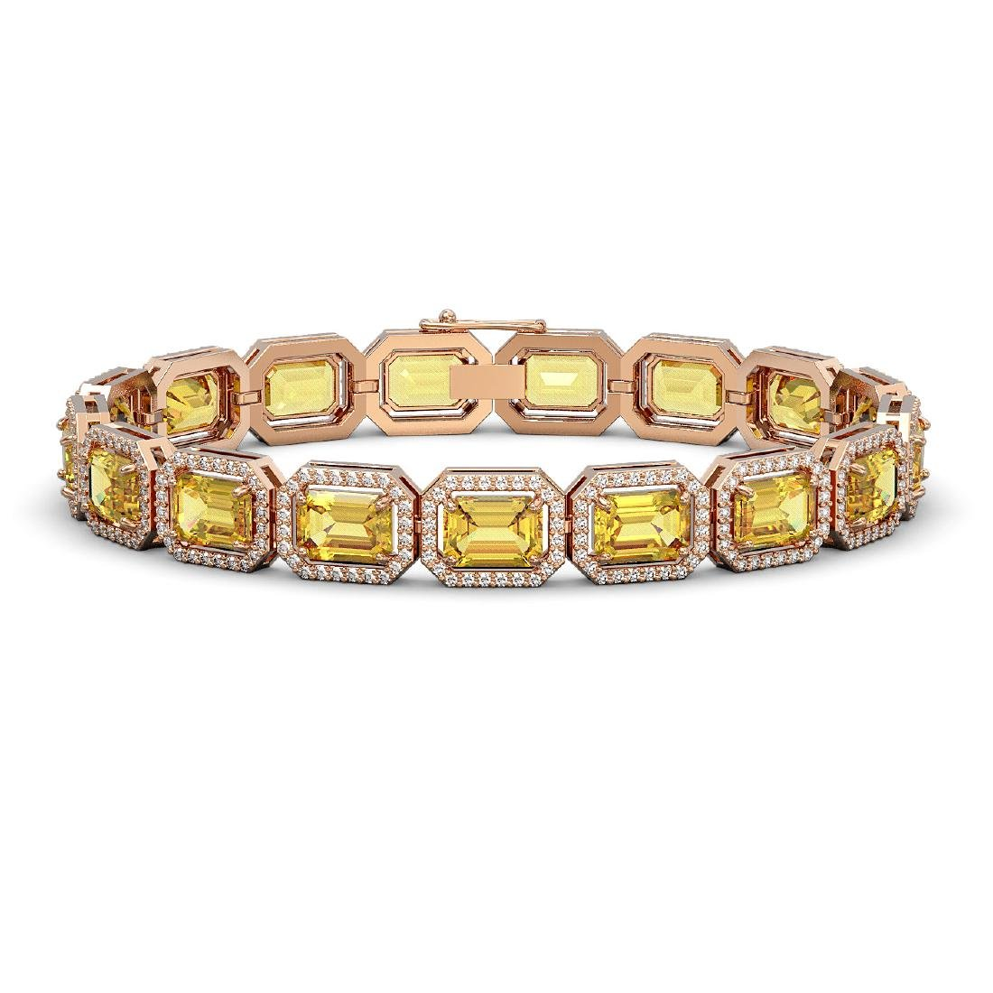 23.74 CTW Fancy Citrine & Diamond Halo Bracelet 10K