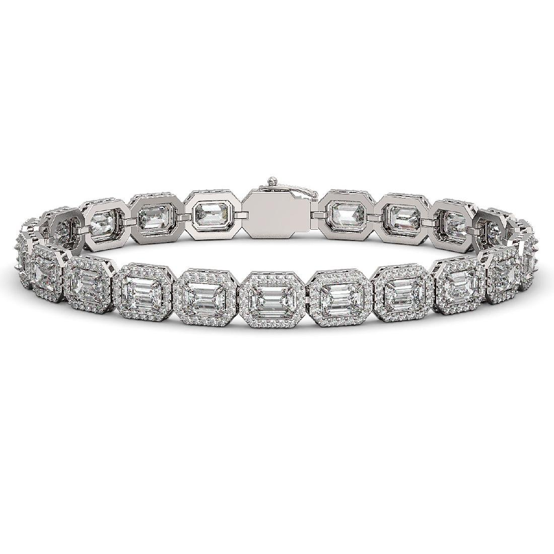 14.57 CTW Emerald Cut Diamond Designer Bracelet 18K