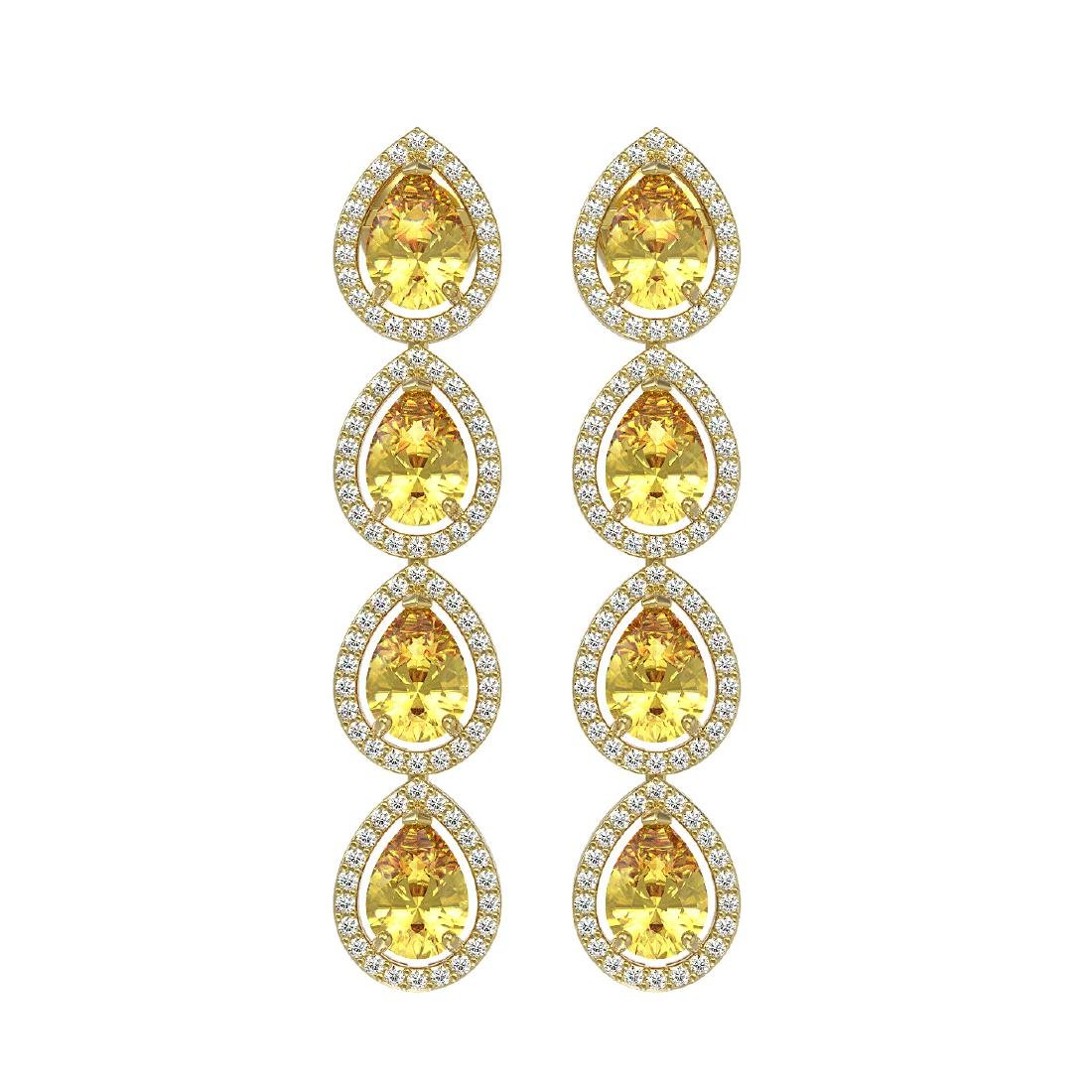 7.48 CTW Fancy Citrine & Diamond Halo Earrings 10K