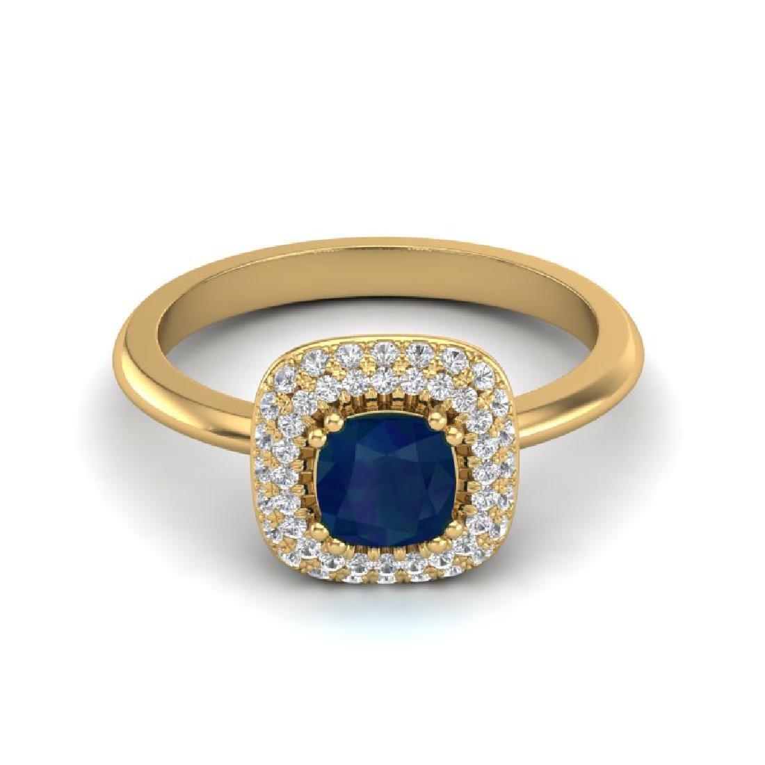 1.16 CTW Sapphire & Micro VS/SI Diamond Ring Solitaire